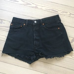 Black Distressed Levi High-waisted Shorts
